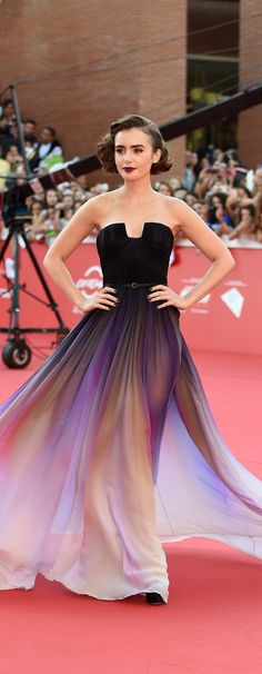 Not vintage but ab fab stunning gown...Lily Collins's Ombré Elie Saab Dress Just Won the Weekend's Red Carpet