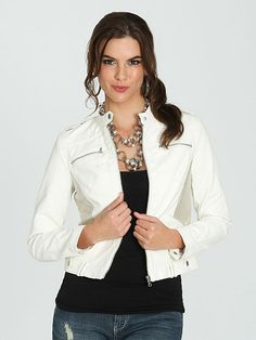 Colorblocked Perforated Moto Jacket