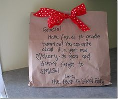 First Day of school! Neat idea, I always will leave a note for when my daughter starts back to school so this would be neat to do too!
