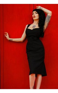 The Jessica Wiggle Dress in Bombshell Black Bengaline with Self Belt by Pinup Couture