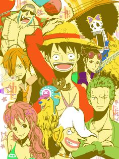 Straw Hat Pirates crew Monkey D. Luffy, Tony Tony Chopper, Roronoa Zoro, Sanji, Brook, Usopp, Nami, Franky, Nico Robin One piece