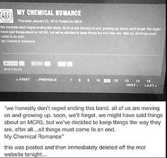 i actually support their decision to split up, since gerard was relapsing into problems again and such. they have grown up, and moved on, and i think it's been for the best.