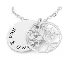 Lebensschmuck von GALWANIExklusive Namenskette mit Lebensbaum und persönlicher Gravur.Eine wunderschöne Kette komplett aus 925 Sterling Silber mit Gravur mit einem Lebensbaum.