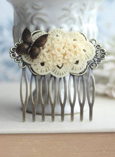 Ivory Floral Flower Butterfly Wedding Hair Comb