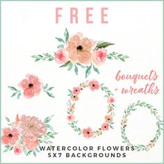 Free Peachy Pink Watercolor Flower Collection!