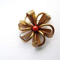 Vintage 1930's Brooch Pin Brass With Deep Red Bead Machine Age Modernist Art Deco Brooch by VintageBlackCatz on Etsy