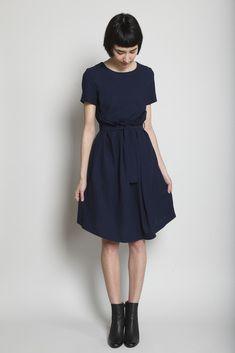 Jil Sander Luster Woven Dress (Navy)