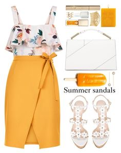 """Summer sandals"" by blueberrylexie ❤ liked on Polyvore featuring Charlotte Russe, Oscar de la Renta, New Look, Clarins, Stila, Acqua di Parma, Disney, Jason Wu, Accessorize and Avigail Adam"