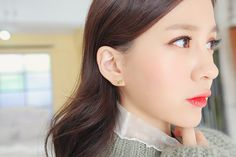 Simple & Romantic Korean Style BUTTERFLY RIBBON Earring -  Material - 92.5% Silver / Brass/ Cubic