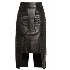 Croc And Leather Croc Hide Skirt (9,630 CAD) ❤ liked on Polyvore featuring skirts, bottoms, real leather skirt, leather skirt, dion lee and knee length leather skirt
