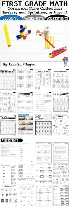 This 171 page product is all about numbers and operations in base ten for 1st grade. Through engaging activities, students will learn basic number relationships, counting, cardinality place value, , subitizing, composing and decomposing numbers to 20, addition, subtraction and the all important number sense. This jam-packed product includes games, worksheets, teaching tools, answer guide and assessments for 1. N.B.T., 1 through 6. It could supplement your math program or stand alone as your ...