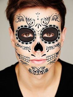 Sugar Skull Temporary Face Tattoo Skull Face Day di PaperCitadel Skeleton Face Makeup, Sugar Skull Makeup, Male Skeleton, Temporary Face Tattoos, Male Makeup, Halloween Makeup, Halloween Ideas, Halloween Stuff, Halloween Costumes