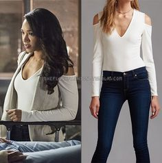 "Who: Candice Patton as Iris West What: Dynamite Deep V-Neck Cold Shoulder Bodysuit - $15 Where: The Flash 3x03 ""Magenta"""