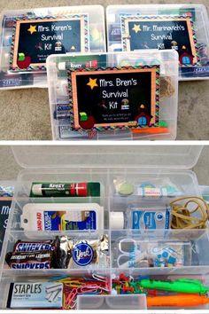 Survival Kit For Teachers, Teacher Survival, Teachers Day Gifts, Presents For Teachers, Survival Kits, New Teacher Gifts, Teacher Gift Baskets, Basket Gift, Teacher Emergency Kit