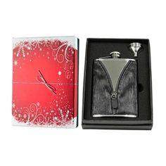 Visol Zipper Black Leatherette Holiday Essential II Liquor Flask Gift Set - 8 ounces