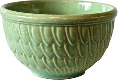Green McCoy Bowl~this looks like the one I have that belonged to my Grandmother.