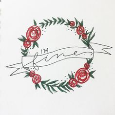when you're in the middle of a mental breakdown, but no one actually wants to hear about that. 👍🏻👍🏻👍🏻 #wreath #wreaths #floral #roses #flowers #banner #banners #ribbon #calligraphy #calligraphyart #fauxcalligraphy #moderncalligraphy #handlettering #lettering #doodling #handdrawntype #togetherweletter #calligrabasics #imfine #breakdown #mentalhealth #darklovelydesigns