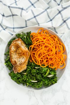 Sweet Potato Noodles with Garlic Kale and Pork Chops Sweet Potato Recipes, Pork Recipes, Paleo Recipes, Cooking Recipes, Cooking Blogs, Bariatric Recipes, Noodle Recipes, Detox Recipes, Cooking Classes