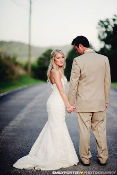 simple photo of a bride and groom