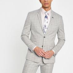 Shop our new Grey check skinny suit jacket at River Island today. Order now for Free Click & Collect and Delivery (Ts&Cs apply). Men's Suits, New Mens Suits, Mens Fashion Suits, Man Fashion, Fashion Hair, Grey Check Suit, Grey Suit Men, Man Suit, River Island