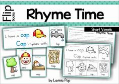 Rhyme Time - Flip Books {Short Vowels} 24 flip books in color and black and white. Each booklet only uses on piece of paper; great paper saving alternative to the traditional readers!