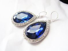 Crystals and Deep Sapphire Rhinestones Bridal Wedding Jewelry Earrings  Ask a Question $24.00 USD