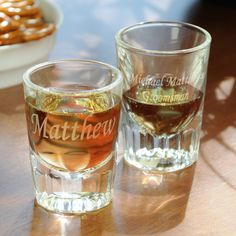 Personalized Fluted Shot Glasses. These are awesome I'm getting these for everyone in my bridal party.