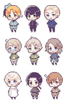 Some official Hetalia pixels I found on Hima's blog! Possible Hetalia pixel game…