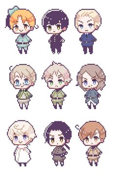Some official Hetalia pixels I found on Hima's blog! Possible Hetalia pixel game coming up?
