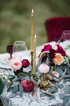 gold taper candles / http://www.deerpearlflowers.com/burgundy-and-blush-fall-wedding-ideas/2/