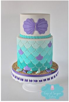 Little Mermaid Ariel inspired ombre scallop birthday cake by Cup of Sugar Cakes