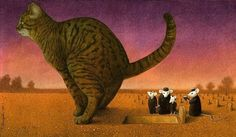 Pawel Kuczynski, a Polish artist has worked in satirical illustration specialising in thought-provoking images that make his audience question their everyday lives. Funny Cat Pictures, Some Pictures, Satirical Illustrations, Les Religions, Art Academy, Canvas Artwork, Thought Provoking, Cat Art, Art Drawings