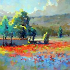 Poppy Field by Trisha Adams Oil ~ 36 x 36