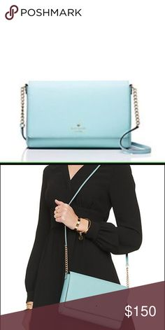 "Kate Spade Charlotte Street Alek Charlotte Street Alek Crossbody. Brand: Kate Spade. Color: Blue. Dimensions: 6.5""h x 9.9""w x 1.6""d. Drop length: 22"". Material: cross hatched leather with 14-karat gold plated hardware. Details: snap closure, interior slide pocket, interior zip pocket. NWT! kate spade Bags Crossbody Bags"