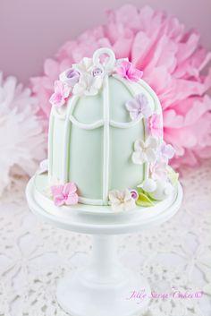 Mint birdcage cake
