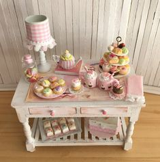 Miniature Valentine Table With Tiered Dessert Stand, Valentine Cookies, Candy, Cupcakes, Petit Fours, Teapot, Cookbook, And An Adorable Lamp