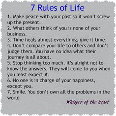 Here are the seven rules of life (according to Whisper of the Heart).