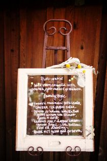 Yum!  Window pane menu shows on display for guests.  Wedding design by A Bride's Best Friend.