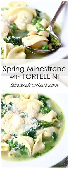 Spring Minestrone with Tortellini: A pesto infused broth is loaded with spring vegetables, beans and tortellini in this light but filling Spring Minestrone with Tortellini soup. Tortellini Recipes, Pasta Recipes, Dinner Recipes, Dinner Ideas, Best Soup Recipes, Healthy Recipes, Chili Recipes, Healthy Menu, Fish Recipes