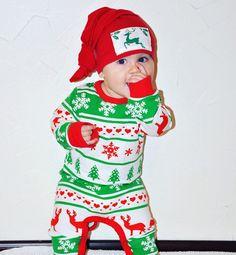 Christmas Pajamas, Baby Christmas Pjs, Red and Green pajamas, Christmas Gift…
