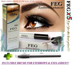 5 X FEG Eyebrow enhancer. The most powerful eyebrow growth Serum 100% Natural. Promote rapid growth of eyelashes. 100% Original with Anti-Fake sticker!!!   Eyelashs and eyebrow brush!!! ** Continue to the product at the image link.