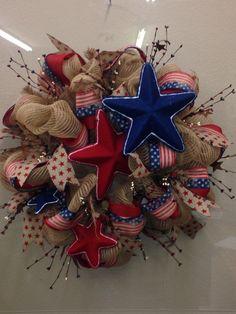 Burlap/ natural look 4th of July deco mesh wreath.