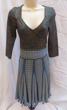 Authentic ZAC POSEN Couture Blue Shimmer Stunning Knit Dress S #ZacPosen #Knit