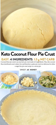 Coconut Flour Pie Crust is a 4 ingredient easy keto pie crust, 100 % dairy-free and therefore a tasty paleo pie crust for sweet sugar free pie or savory pie Paleo Pie Crust, Coconut Flour Pie Crust, Low Carb Pie Crust, Pie Crust Recipes, Coconut Flour Biscuits, Coconut Flour Cakes, Keto Flour, Bread Recipes, Low Carb Desserts