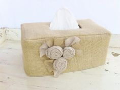 Linen rose burlap rectangle tissue box cover by headtotoe2009, $20.00