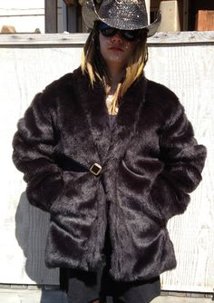 a108e127948 Slick Black Faux Fur Jacket Burningman style Reversible warm fakefur  Playawear discount budget Playacoat Women s LAST ONE ships now