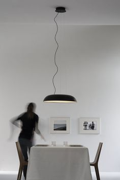 Hanging lamp, diffused light, aluminium structure lacquered in white, black color and yellow. White opal methacrylate diffuser. LED light source integrated. Electronic dimmable Push/Dali driver inside the ceiling stud. Available two sizes. Inside, Lamp, Led Lights, Color, Hanging Lamp, Pendant Light, Hanging, Diffused Light, Home Decor