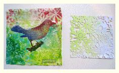 avoid the blank canvas with techniques like this bird stencil for collage by linda blinn