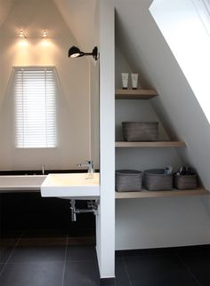 attic bathroom Houzz: Contemporary Country Style in the Netherlands contemporary-bathroom Small Attic Bathroom, Loft Bathroom, Bathroom Storage, Houzz Bathroom, Bathroom Faucets, Bathroom Lighting, Concrete Bathroom, Bathroom Plumbing, Bathroom Mirrors