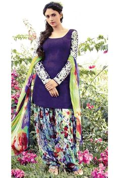 Blue Cotton Patiala Salwar Suit